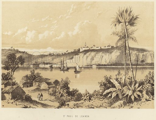 St Paul de Loanda. Published in a book on David Livingstone, circa 1875.