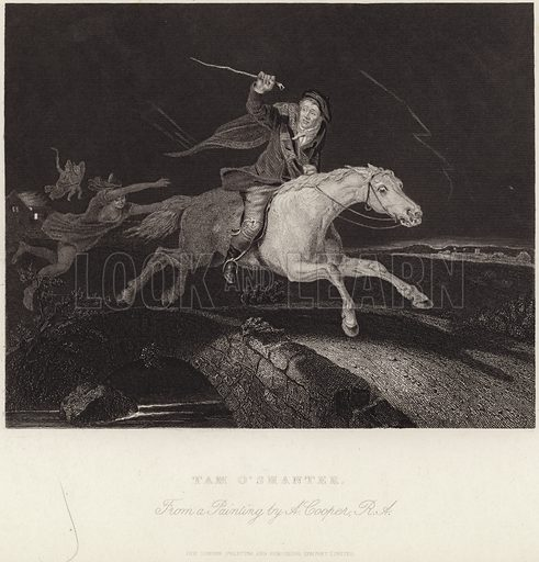 Tam O'Shanter, an illustration of the Robert Burns poem of the same name, by Abraham Cooper. Published by the London Printing and Publishing Company Limited.