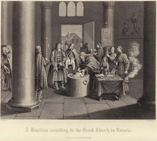 A baptism according to the Greek Church in Russia. After Picart, engraved by W Forrest. Published by Fullarton & Co, London and Edinburgh.