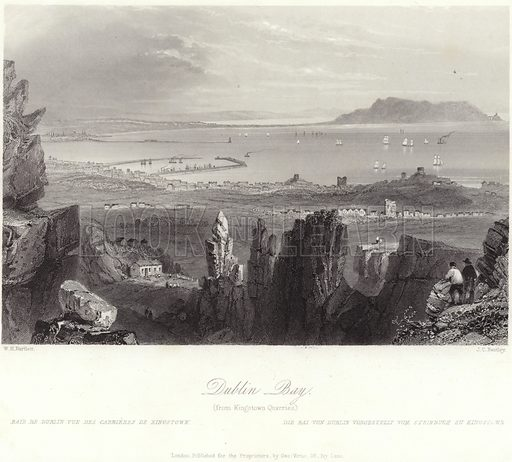 Dublin Bay, from Kingstown Quarries. After William Henry Bartlett, engraved by JC Bentley. Published for the proprietors by George Virtue, 26 Ivy Lane, London.