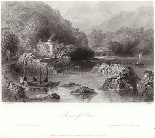 Glengariff Inn in County Cork, Ireland. After William Henry Bartlett, engraved by JC Bentley. Published for the proprietors by George Virtue, 26 Ivy Lane, London.