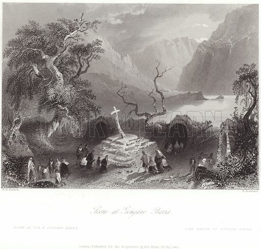Scene at Gougane Barra in County Cork, Ireland. After William Henry Bartlett, engraved by R Brandard. Published for the proprietors by George Virtue, 26 Ivy Lane, London.