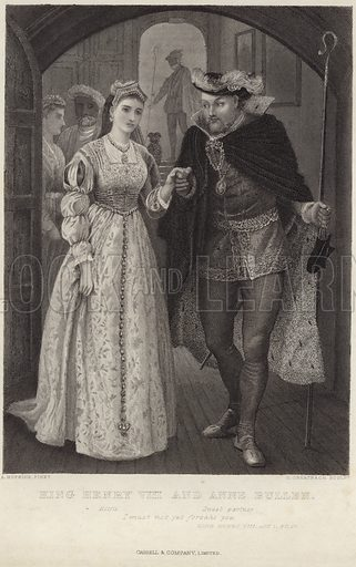 KIng Henry VIII and Anne Bullen, After Arthur Hopkins, engraved by G Greatbatch. With a quotation from King Henry VIII, act I, scene IV– 'I must not yet forsake you' – by William Shakespeare. Published by Cassell & Company Limited.