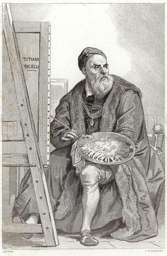 Titian, Italian painter. After Achille Deveria, engraved by JM Fontaine.