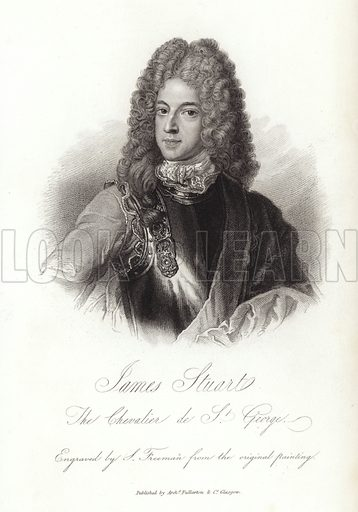 James Stuart, the Chevalier de St George, engraved by J Freeman from the original painting. Published by Archibald Fullarton & Co, Glasgow.