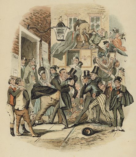 Illustration from Nicholas Nickleby, by Charles Dickens, showing two men being restrained in a busy street scene.