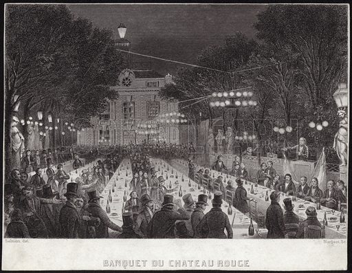 Banquet at the Chateau Rouge, showing crowds gathering around long banqueting tables at the Chateau Rouge in Wanze, in the province of Liege, Belgium. Drawn by Salmon, engraved by Nargeot.