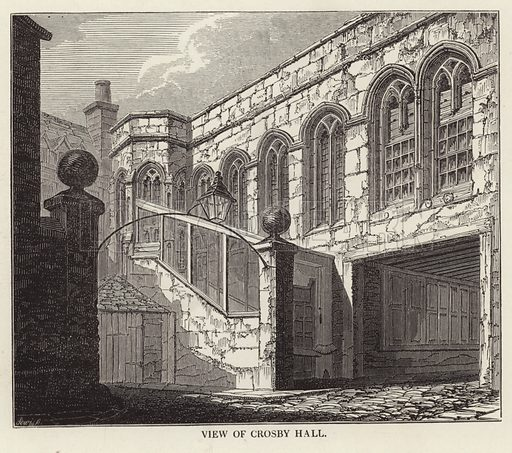 A view of Crosby Hall, in Cheyne Walk, Chelsea, London. Crosby Hall was built in 1466 by the wool merchant John Crosby.