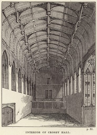 Interior of Crosby Hall, in Cheyne Walk, Chelsea, London. Crosby Hall was built in 1466 by the wool merchant John Crosby.