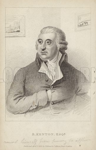 Benjamin Kenton, British vintner and philanthropist. Published 2 April 1821, by J Robins & Co, Albion Press, London.