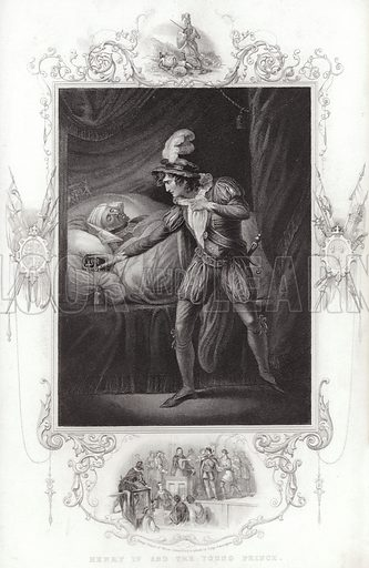 Henry IV and the young prince, with (inset) Henry, Prince of Wales, committed to prison by Judge Gascoigne.