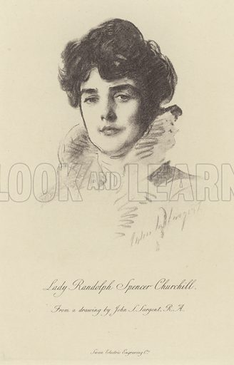 Lady Randolph Churchill, American wife of Lord Randolph Churchill and the mother of British Prime Minister Winston Churchill. From a drawing by John Singer Sargent. Engraved by the Swan Electric Engraving Company.