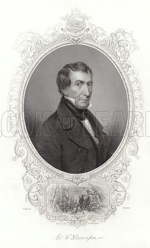 William Henry Harrison, ninth President of the United States, an American military officer and politician. After Franquinet, engraved by Edwards. With a facsimile of Harrison's signature.