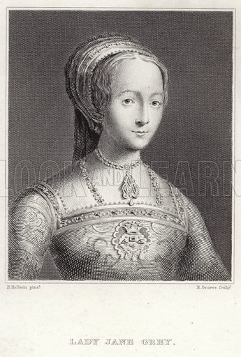 Lady Jane Grey, English noblewoman and Queen of England from 10 July until her execution on 19 July 1553. After Hans Holbein, engraved by R Graves.