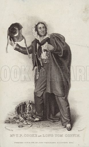 Thomas Potter Cooke, actor, as Long Tom Coffin, written by James Fenimore Cooper. Drawn by Wageman, engraved by Woolnoth. Published on 18 Octiober 1828, by John Cumberland, 19 Ludagte Hill, London.