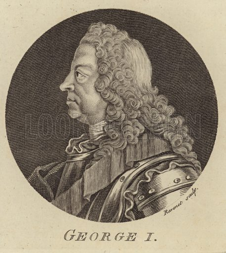 King George I of Great Britain and Ireland. Engraved by Ravenet.