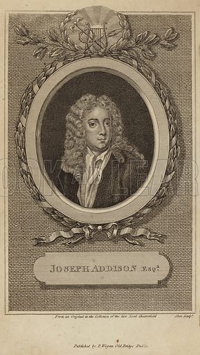 Joseph Addison, English essayist, poet, playwright and politician. Engraved by Shea. From an original in the collection of the late Lord Chesterfield.