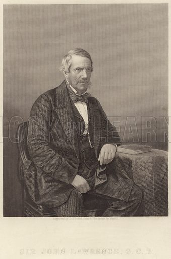 Sir John Lawrence, 1st Baron Lawrence, British Imperial statesman who served as Viceroy of India from 1864 to 1869. Engraved by DJ Pound, from a photograph by Mayall.