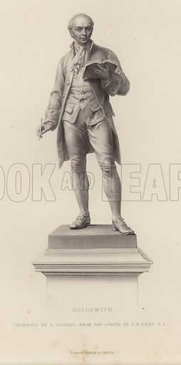Statue of Oliver Goldsmith, Irish novelist, playwright and poet, by John Henry Foley, engraved by G Stodart. The statue of located in front of the main entrance of Trinity College, Dublin. Published by James S Virtue.