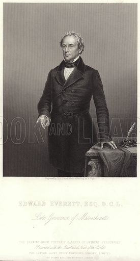 Edward Everett, American politician, engraved by DJ Pound from a painting by M Wight. The drawing room portrait gallery of eminent personages, presented with the Illustrated News of the World, the London Joint Stock Newspaper Company Limited, 199 Strand & 122 Regent Street, London.