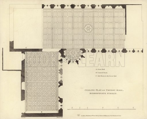 Ceiling plan of Crosby Hall, Bishopsgate Street, London. Drawn by Nash, engraved by Bourne. Published 11 October 1816, by Robert Wilkinson, 125 Fenchurch Street.