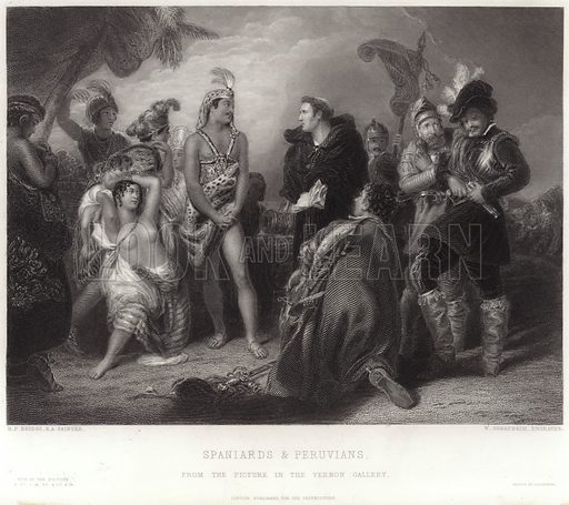 Spaniards and Peruvians, from the picture in the Vernon Gallery. After Henry Perronet Briggs, engraved by W Greatbatch. Published for the proprietors, London. Printed by H Wilkinson.