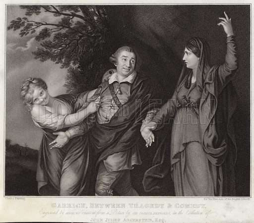 Garrick between tragedy and comedy, engraved by Anthony Cardon from a picture by Sir Joshua Reynolds, in the collection of John Julius Angerstein. Class 1 painting for the Fine Arts of the English School.