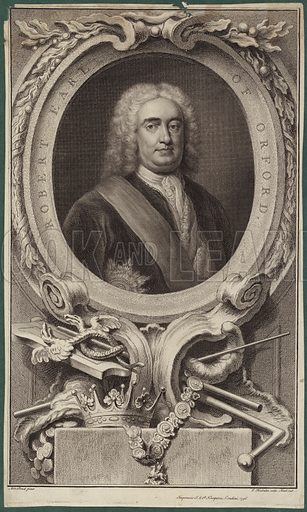 Robert Walpole, 1st Earl of Orford, British statesman who is generally regarded as the first Prime Minister of Great Britain. Engraved by J Houbraken, 1746. Published by J & P Knapton, London, 1746.