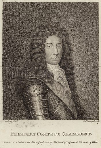 Philibert, comte de Gramont, French nobleman, from a picture in the possession of the Earl of Orford at Strawberry Hill. Drawn by Harding, engraved by Clamp.