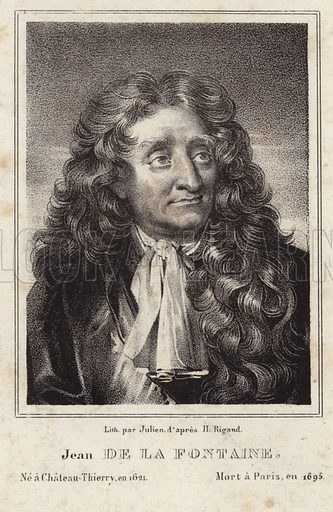 Jean de La Fontaine, French poet. After Hyacinthe Rigaud, lithograph by Julien.