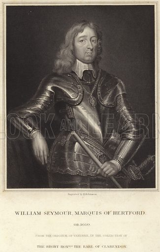 Sir William Seymour, 2nd Duke of Somerset, English nobleman and Royalist commander in the English Civil War. After Sir Anthony van Dyck, engraved by H Robinson. From the original by Sir Anthony van Dyck in the collection of the Earl of Clarendon.