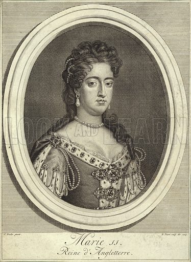 Queen Mary II of England, Scotland, and Ireland. After Sir Godfrey Kneller, engraved by B Picart, 1724.