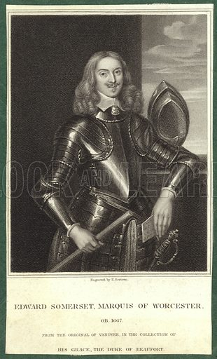 Edward Somerset, 2nd Marquess of Worcester, English nobleman, from the original by Sir Anthony van Dyck, in the collection of His Grace, the Duke of Beaufort. Engraved by Edward Scriven.