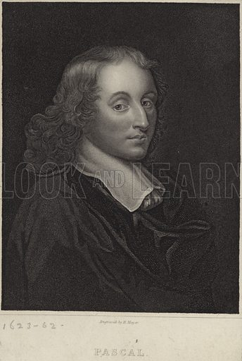Blaise Pascal, French mathematician, physicist, inventor, writer and Christian philosopher. Engraved by H Meyer.