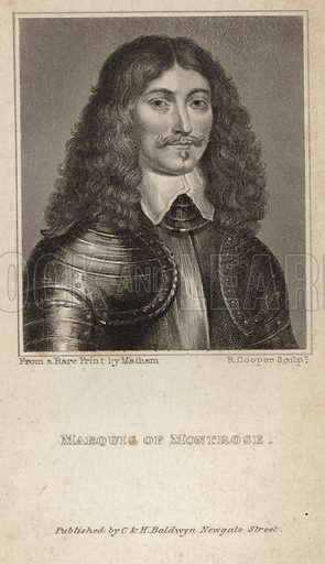 James Graham, 1st Marquess of Montrose, Scottish nobleman and soldier. From a rare print by Matham, engraved by R Cooper. Published by C & H Baldwyn, Newgate Street.
