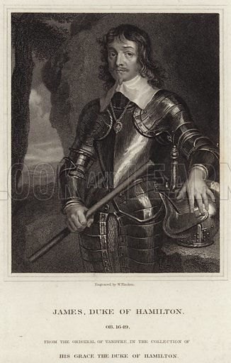 General Sir James Hamilton, 1st Duke of Hamilton, Scottish nobleman and English Civil war military leader. From the original by Sir Anthony van Dyck, in the collection of his grace the Duke of Hamilton. Engraved by W Finden.