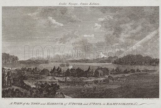 A view of the town and harbour of St Peter and St Paul in Kamtschatka, Russia. Drawn by J Webber, engraved by W & J Walker. Published in Cook's Voyage, Octoavo edition.
