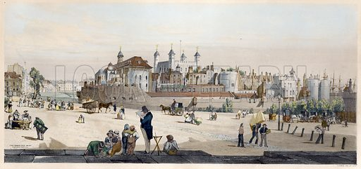 Tower of London and Mint from Great Tower Hill, London. Drawn and printed by TS Boys.