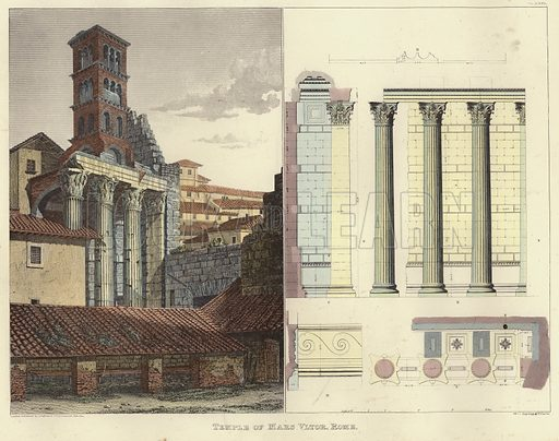 Temple of Mars Ultor, including architectural plans, in the Forum of Augustus, Rome, Italy. Published by Longman & Company, Paternoster Row, 1821. Engraved by J Carter.