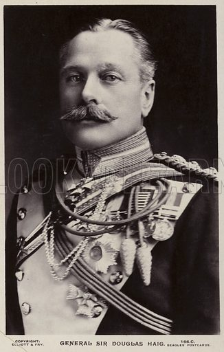 General Sir Douglas Haig, 1st Earl Haig of Bemersyde, British senior officer. Photograph by Elliott & Fry, published by Beagles' Postcards.