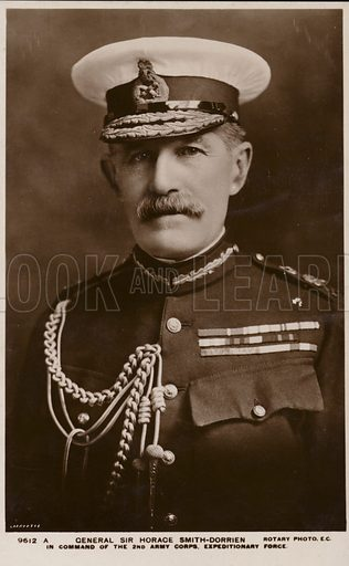 General Sir Horace Smith-Dorrien, British soldier, commander of the 2nd Army Corps Expeditionary Force. Photograph by Rotary Photo.