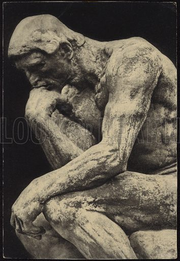 The Thinker, bronze sculpture on marble pedestal, by Auguste Rodin. Printed by Braun & Cie, France.