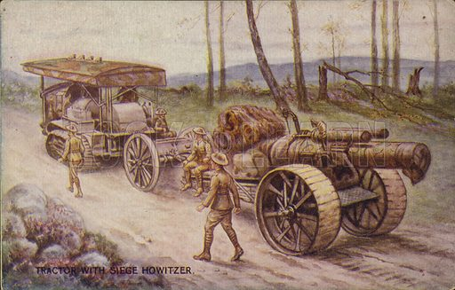 Tractor with siege howitzer. War Bond Campaign Postcard published by AM Davis & Co.