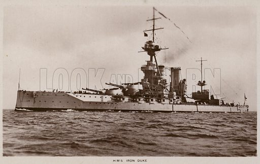 HMS Iron Duke, battleship of the Royal Navy, the lead ship of her class and the flagship of the Grand Fleet during the First World War. Published by WE Mack, London NW3, as part of their Sepia 'Satin' Series.