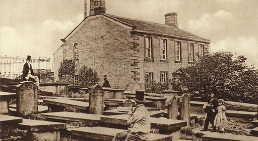 Haworth Parsonage in the days of the Brontes, the home of the Bronte sisters in Haworth, West Yorkshire.
