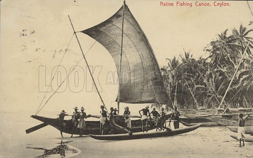 Native fishing canoe in Ceylon.