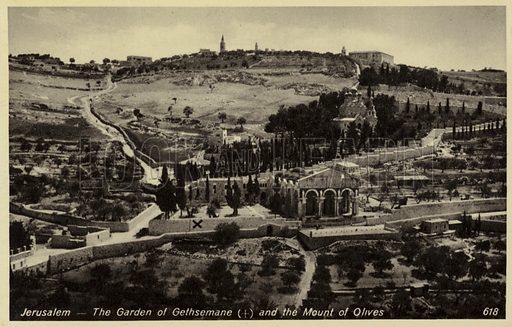 The Garden of Gethsemane and the Mount of Olives in Jerusalem.