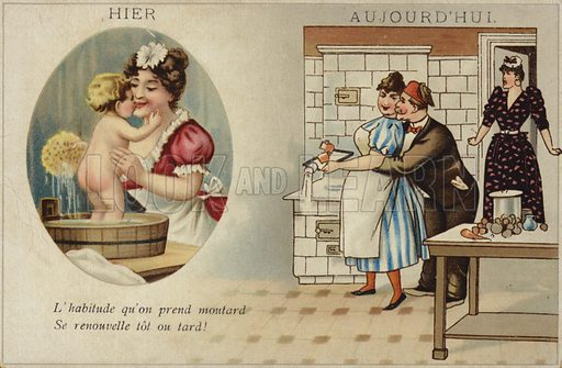 Yesterday: a woman washing a young child with a sponge. Today: A man embraces a woman in a kitchen, with a second woman standing with a shocked expression on her face.
