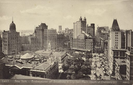Birdseye view of Broadway and City Hall Park, south of Chambers Street, in New York.