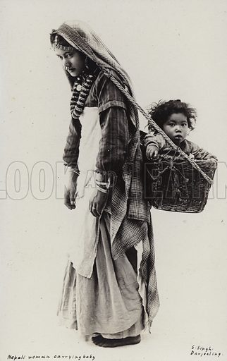 Nepali woman carrying a baby. Photograph by S Singh, Darjeeling.